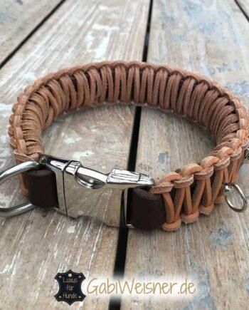 Hundehalsband Leder 4 cm breit geflochten, Klickverschluss
