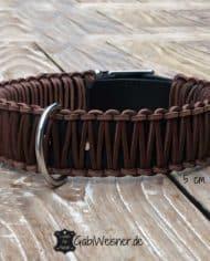 Hundehalsband-Leder-5-cm-breit-braun