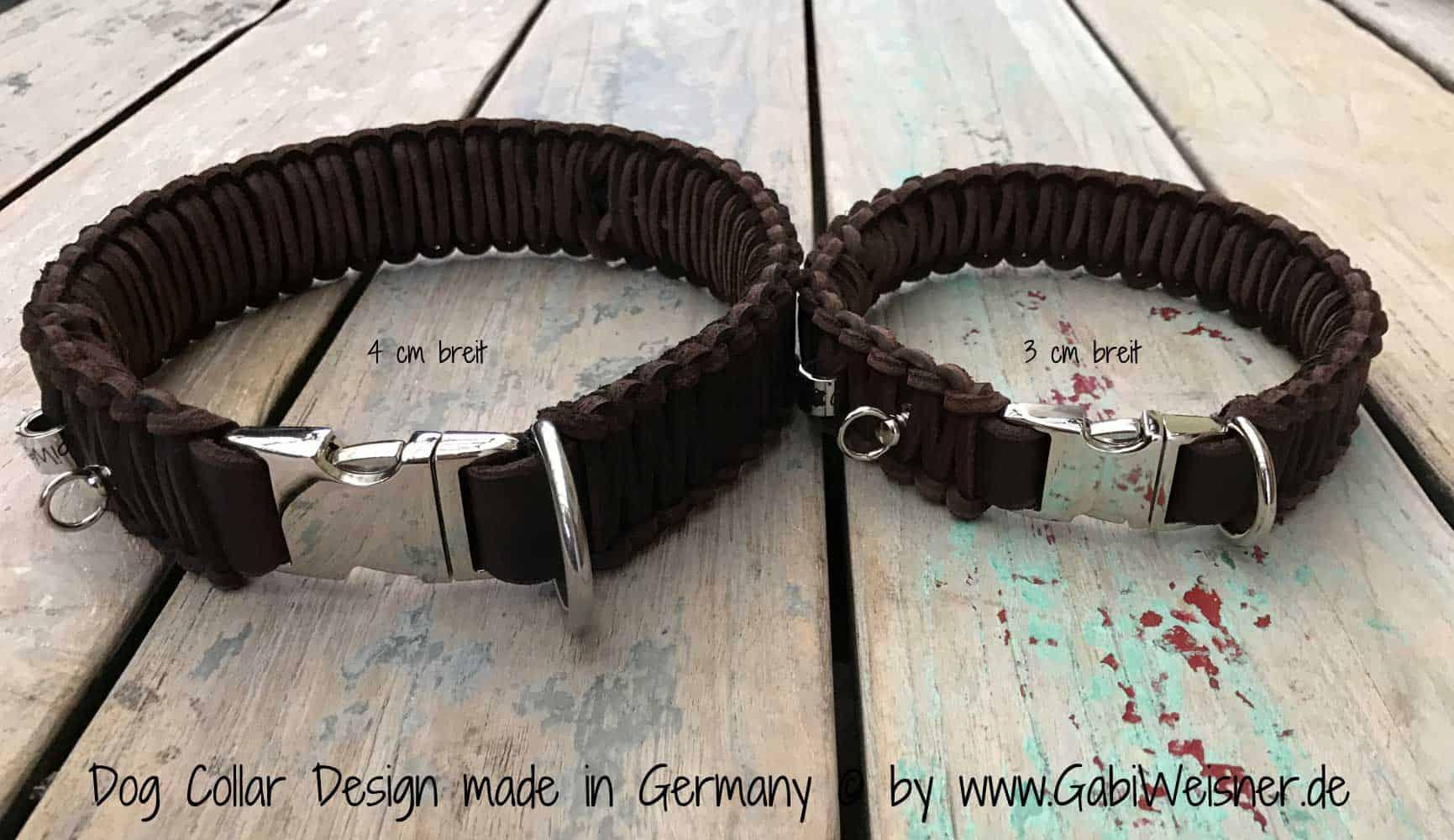Hundehalsband Leder 4 cm breit geflochten