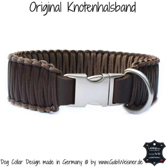 Hundehalsband Leder 5 cm breit geflochten, Klickverschluss