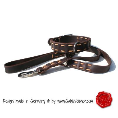 Hundehalsband Vollrindleder PUR im SET