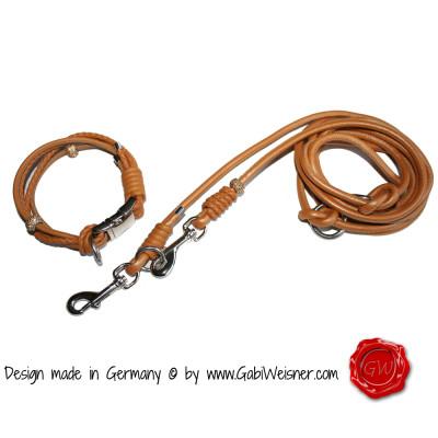 Hundehalsband-Nappaler-4-reihig cognac