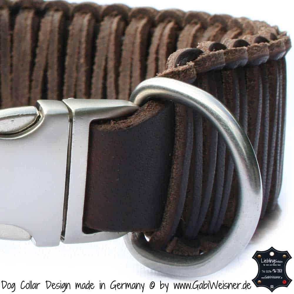 Hundehalsband-Leder-Knotenhalsband-5-cm-Breit-Braun-AluMax-Klick-Verschluss-1