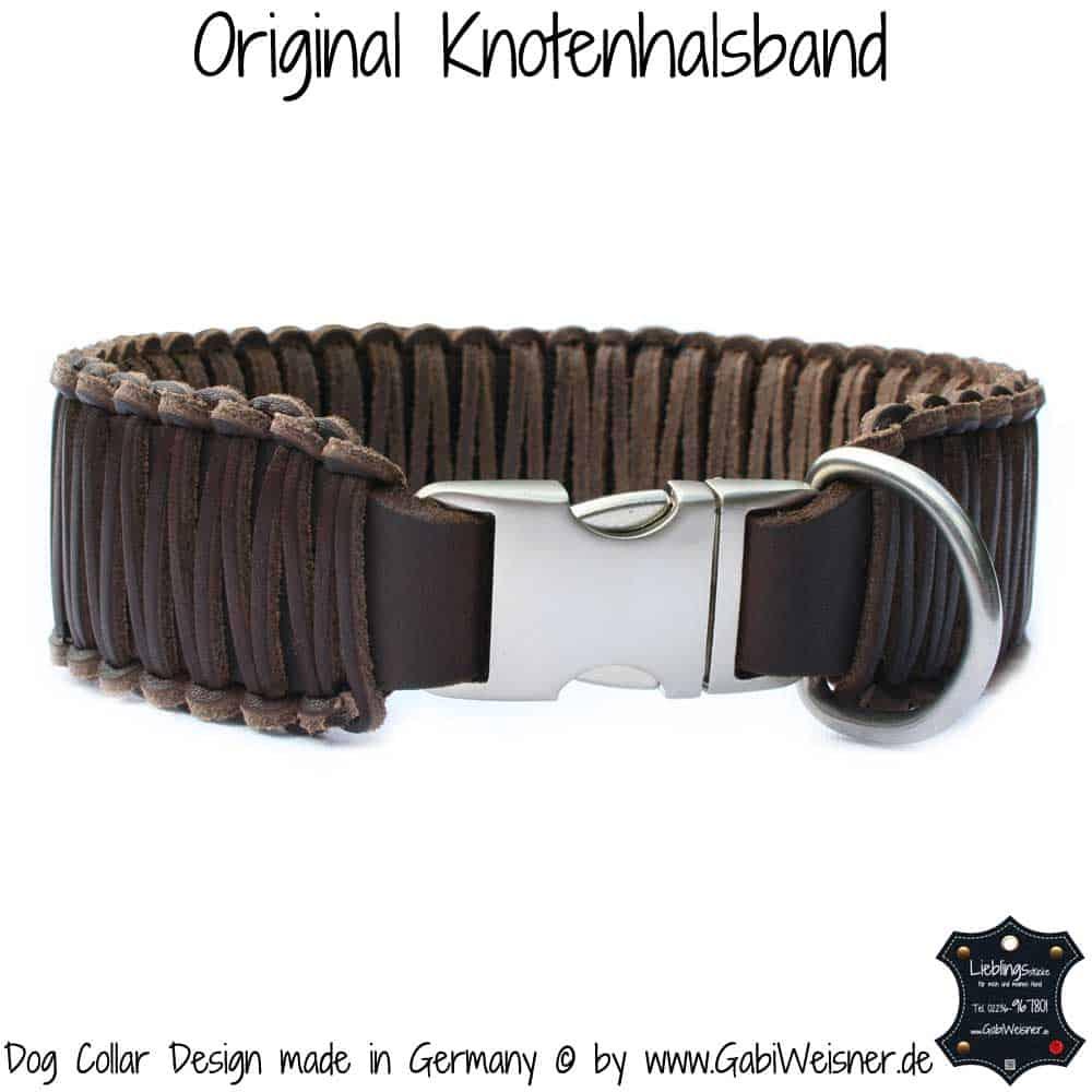 Hundehalsband-Leder-Knotenhalsband-5-cm-Breit-Braun-AluMax-Klick-Verschluss-2