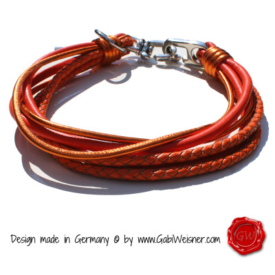 Hundehalsband-Leder-6-reihig-orange-3