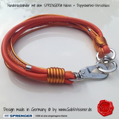 Lederhalsband-6-reihig-orange-Sprenger-Haken-1