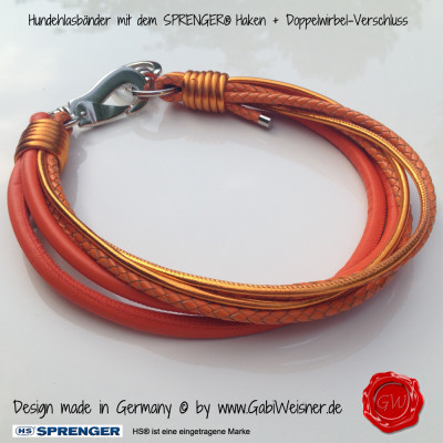 Lederhalsband-6-reihig-orange-Sprenger-Haken-2