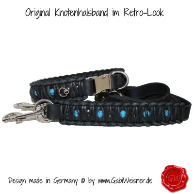 Hundehalsband-Leder-Knotenhalsband-türkise-Nieten-set
