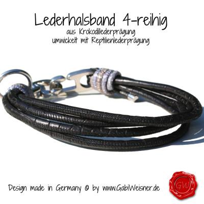 Lederhalsband-4-reihig-Krokodillederprägung-5