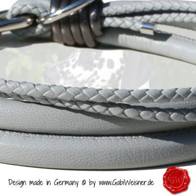 Lederhalsband-4-reihig-Grau-mit-anthrazit-metallic-1