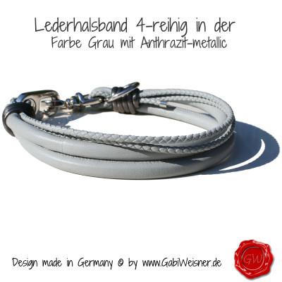 Lederhalsband-4-reihig-Grau-mit-anthrazit-metallic