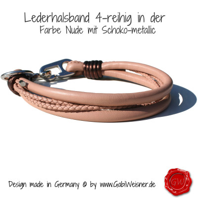 Lederhalsband-4-reihig-Nude-mit-Schoko-metallic