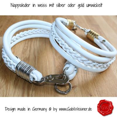 Lederhalsband-Nappaleder-in-weiss-mit-silber-oder-gold-umwickelt