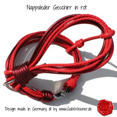 Nappleder-Geschirr-rot