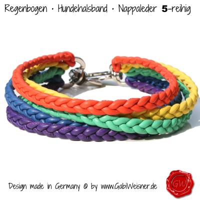 Regenbogen-Hundehalsband-Nappaleder-5-reihig