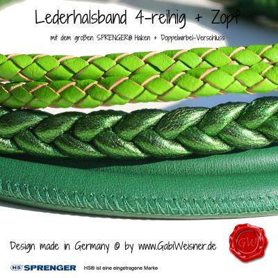 Hundehalsband-4-reihig+Zopf-SPRENGER-HAKEN-GABIWEISNER-grün-4