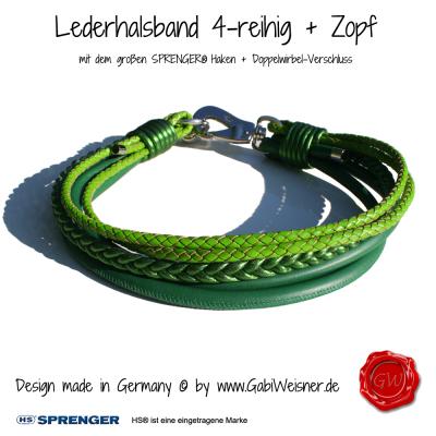 Hundehalsband-4-reihig+Zopf-SPRENGER-HAKEN-GABIWEISNER-grün-3