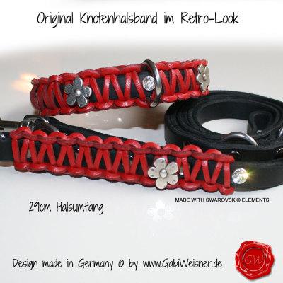 Lederhalsband-und-Leine-in-rot-mit-Blümchen-und-SWAROVSKI