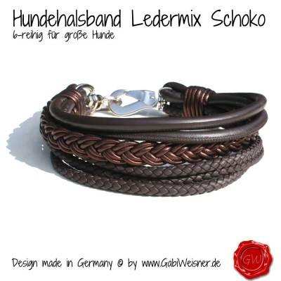 Hundehalsband-Ledermix-6-reihig-Schoko-0