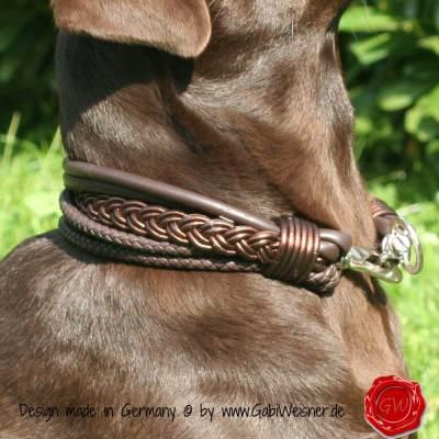 Hundehalsband-Ledermix-6-reihig-Schoko-3