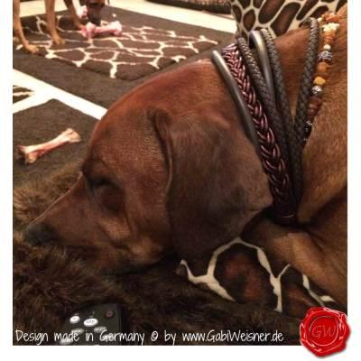 Hundehalsband-Ledermix-6-reihig-Schoko-4