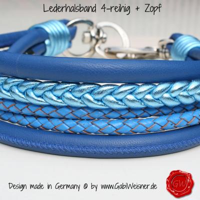 Lederhalsband 4-reihig + Zopf