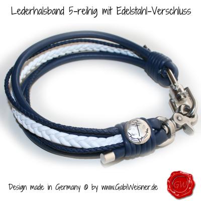 Lederhalsband-5-reihig-mit-Edelstahl-Verschluss