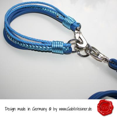 Lederhalsband-Nappaleder-Blau