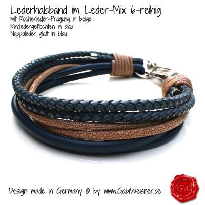 Lederhalsband-Rochen-beige-mit-Nappa-blau-1