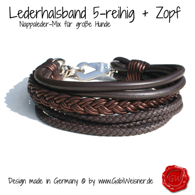 Lederhalsband-5-reihig-+-Zopf----Nappaleder-Mix-für-große-Hunde