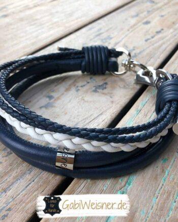 Lederhalsband maritim, exklusiv im Marinelook für Hunde bis 45 cm Halsumfang