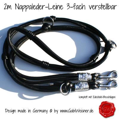 2m-Nappaleder-Leine-3-fach-verstellbar