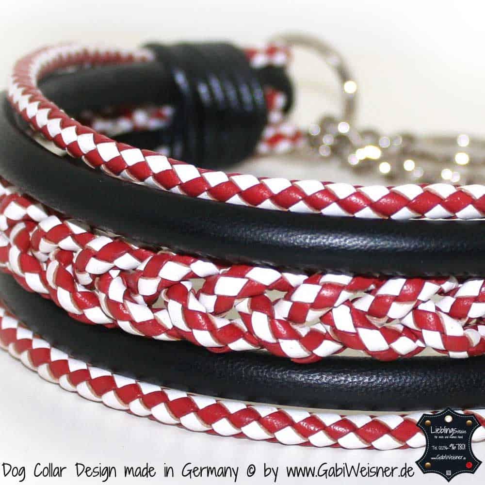 Hundehalsband-Leder-rot-weiß-1