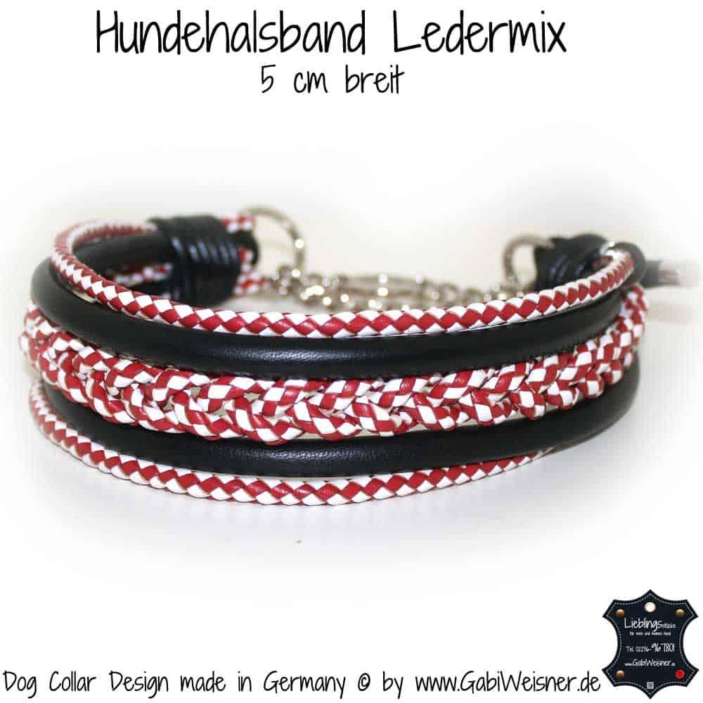 Hundehalsband-Leder-rot-weiß-3