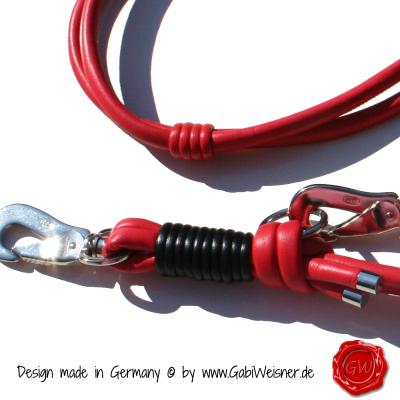 Hundeleine-Nappaleder-Lederleine-Rot