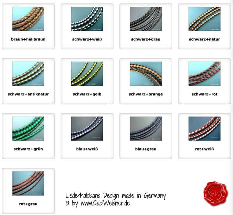 Lederhalsband in verschiedenen Breiten und Farben