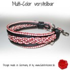 Hundehalsband Leder in Rot-Weiß-Schwarz