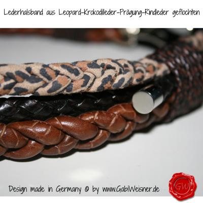 Lederhalsband-aus-Leopard-Krokodilleder-Prägung-Rindleder-geflochten