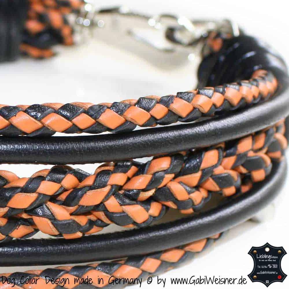 hundehalsband-leder-racing-orange-schwarz-1