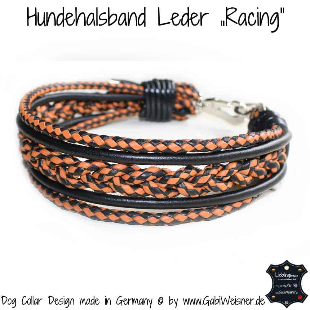 hundehalsband-leder-racing-orange-schwarz-2
