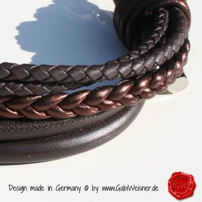 Hundehalsband-Leder-Mix-5-reihig-Braun-1