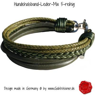 Hundehalsband-Leder-Mix-5-reihig-Olive-1