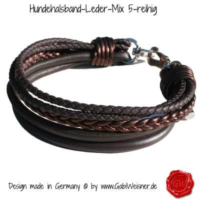 Hundehalsband-Leder-Mix-5-reihig-Olive-12