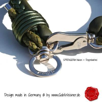 Hundehalsband-Leder-Mix-5-reihig-Olive-2