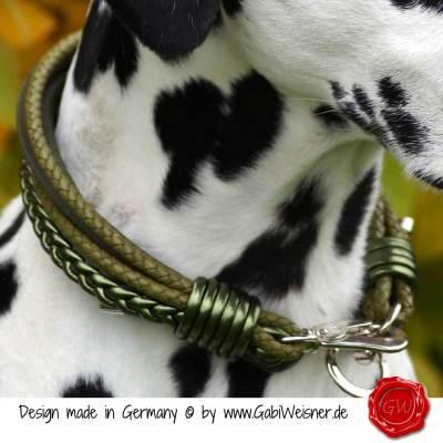 Hundehalsband-Leder-Mix-5-reihig-Olive-3