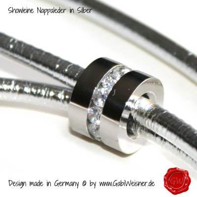 Showleine-Ausstellungsleine-Leder-Strass-Silber-7