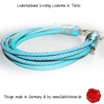 Lederhalsband-6-reihig-Ledermix-in-Türkis-1