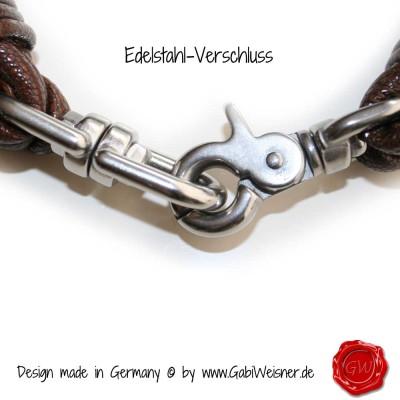 Lederhalsband-Edelstahl-Verschluss
