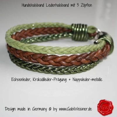 Hundehalsband-Lederhalsband-3-Zöpfe-Kroko-Echse-Nappa-grün-1