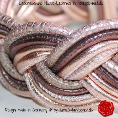 Lederhalsband-Nappa-Ledermix-in-roségold-metallic